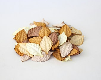 50 pcs - Mulberry paper leaves - Mixed brown colors -2.5 x 4 cm (1 x 1/2 inch)