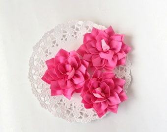 "3 pcs - Medium pink double satin flowers - Frayed Flower - Fabric Flower - 2 1/4"" Flowers"
