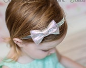 Silver Glitter Bow Headband - Gray Sparkle Hair Bow - Newborn Baby Hairbow - Little Girls Photo Prop - Christmas Holiday Hair Piece