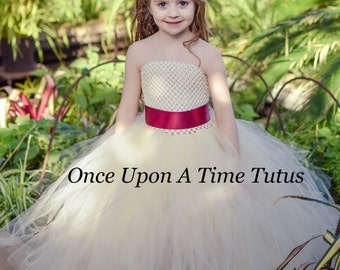 Customizable Ivory Maroon Tutu Dress - Spring Tulle Flower Girl Ribbon - Baby Little Girls Toddler Size 6 9 12 Months 2t 3t 4t 5 6 7 8 10 12