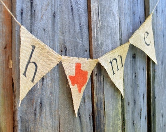 HOME state burlap banner