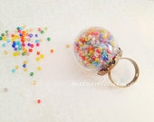 Glass Globe Statement Ring. Gumball Machine. Colorful. Movable. Adjustable Ring. Glass. Rainbow. Summer. Fun. Whimsical. Statement Ring.