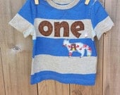 Upcycled Clothing Custom ONE Applique T-Shirt, Fox Applique T-Shirt, First Birthday T-Shirt