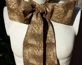 Upcycled Steampunk Clothing, Mad Hatter Bow Tie (100% Cotton Snake Print) Brown & Cream - Alice in Wonderland, Handmade Bow Tie