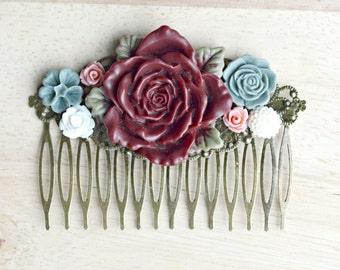 Marsala Flower Hair Comb Wedding Trends 2015 Mauve Burgundy Floral Hair Piece