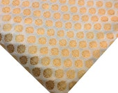 Ivory and Gold Banaras Silk Fabric - White and Gold Weaving Silk Fabric