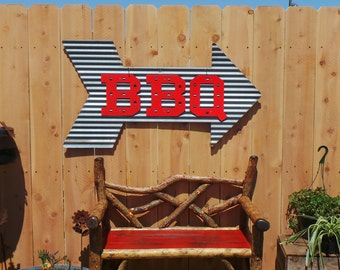 Arrow with BBQ/Vintage Corrugated Barn Tin/Metal Sign/Patio/Grilling/Kitchen/Cafe/Restaurant