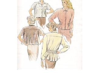 Kwik Sew 80s Sewing Pattern Peplum Blouse Trapeze Jacket Swing Coat Long Short Sleeves Flared Back Yoke Uncut FF Bust 31 to 40
