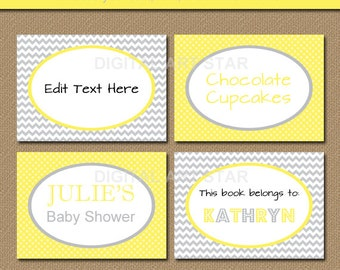 Yellow Grey Editable Printable Chevron Buffet Cards, Labels, Tent Cards, Candy Buffet Labels, Dessert Table Labels - INSTANT DOWNLOAD