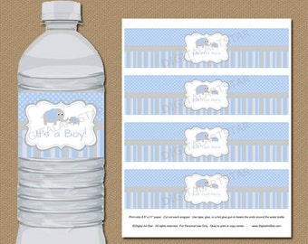 Elephant Party Water Bottle Labels - Blue Grey - EDITABLE Template - Downloadable Water Labels Boy Baby Shower Party Decorations Printable