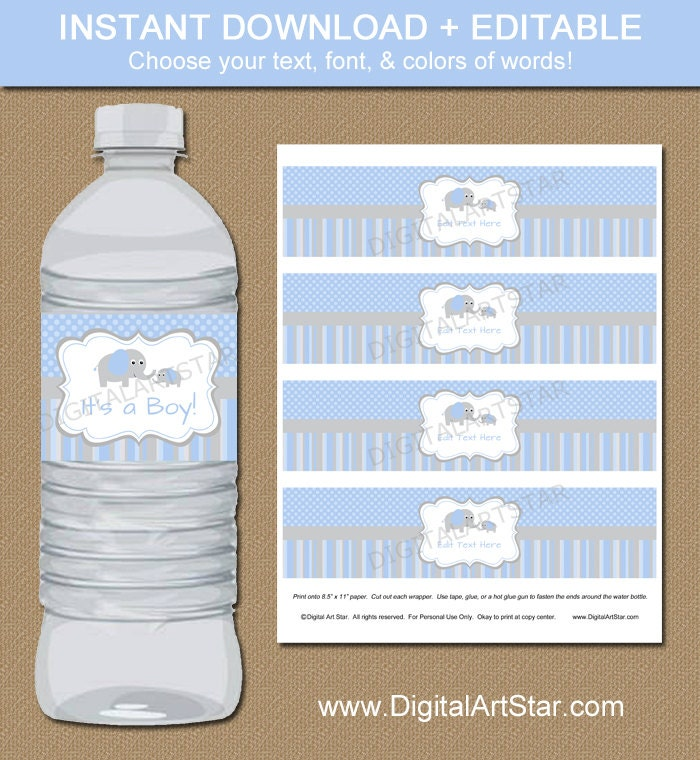 Elephant Party Water Bottle Labels Blue Grey Editable