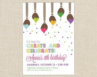 Paint Party Invitation. Art Birthday Party Invitation. Art Pary. Paint Birthday Party