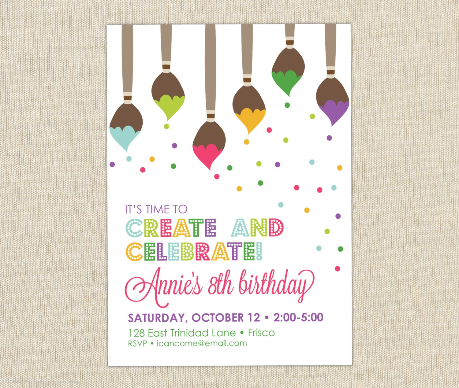paint party invitation. art birthday party invitation. art, Birthday invitations