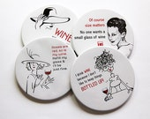 Funny Coasters, Wine Coasters, Coasters, Drink Coasters, Tableware, Humor, Party, Funny Women, Black, White, Red, Cocktail Coasters (5030)