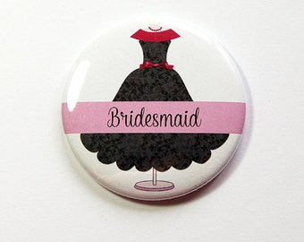 Bridesmaid mirror, Bridesmaid gift, Personalized pocket mirror, pocket mirror, custom pocket mirror, bridal shower favor, black, pink (4981)