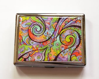 Cigarette Case, Metal cigarette case, Cigarette box, Metal Wallet, abstract design, Bright Colors, Made in Canada, stainless steel (4985)