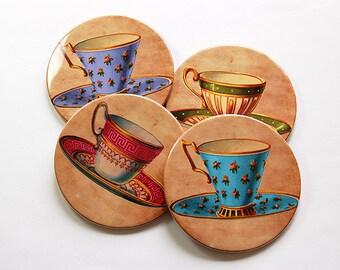 Tea Cup Coasters, Coasters, Drink Coasters, Tableware, Tea Lover, Tea Drinker, Coasters for Tea Drinker, Hostess Gift, Housewarming (5031)
