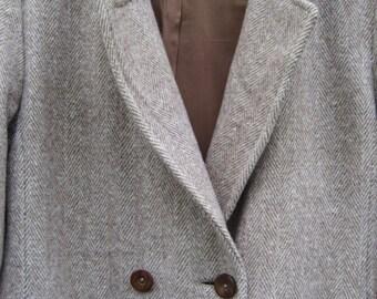 Long Wool Tweed Coat - Tan Herringbone - Ladies 10 - Jack Klein - American Made in USA