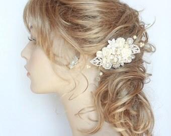 Bridal Hair Comb-Rhinestone & Pearl Hair Comb-Bridal Hair accessories-Rhinestone Hairpiece-Pearl Bridal Comb-Wedding Hair Comb- Brass Boheme
