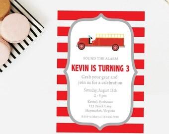 Firetruck Birthday Invitation - DIY Printable 5x7 Birthday Invitations