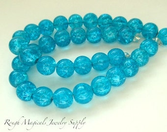 Teal Crackle Beads 8mm Turquoise Blue Glass Beads - 18 Pieces