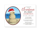 Christmas in July Party Invitations - Modern Illustrated Sand Snowman - Printed Invitations