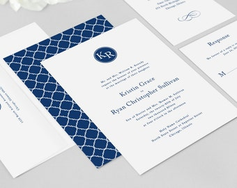Monogram Wedding Invitation Modern - Kennedy Invitation Suite - Navy Blue, Preppy, Monogram Invitation Suite - Deposit to Get Started