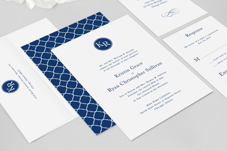 Initial Wedding Invitations: Monogram Wedding Invitation Modern Kennedy Invitation Suite