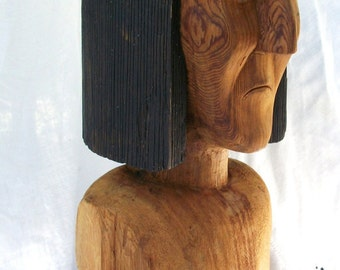 Carved Wood ~ Life size Counter top Display ~ Figure Native American Indian ~ Vintage Redwood ~ West Coast / Hat Dispay