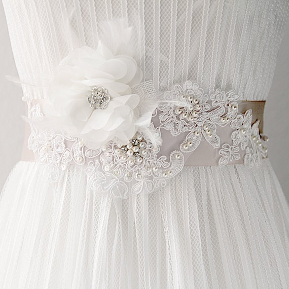 Bridal Couture - Rhinestones Pearls Beaded Embroidery Lace Flower Sash Belt - Wedding Dress Sashes Belts
