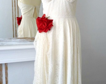 Vintage 1940s Prom Pinup Wedding Handmade Marilyn Monroe Dress, Cream Draped Lace, Satin and Red Rose Brooch, Elegant Chic Dress UK size 6/8