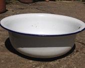 Enamel wash bowl, metal bowl, enamel basin, wash basin, white bowl