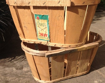 Vintage fruit crate, wooden crate, storage basket, log basket