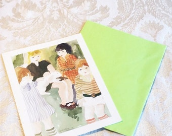 Blank Note Card and Green Envelope / Vintage Current Watercolor Children Stationery