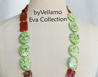 Colorful very long statement chunky necklace with mosaic stones, large oval, high quality carved agate stone, bright summer fashion necklace