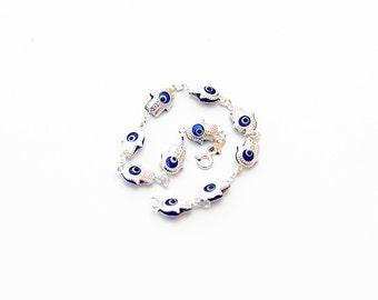 Hamsa bracelet, evil eye bracelet, sterling silver hamsa evil eye