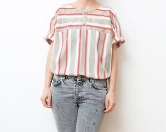 Vintage white women blouse with red and beige stripes / oversized large