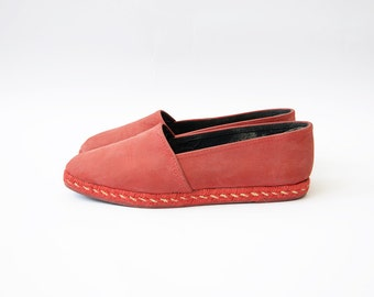 Vintage red leather women italian espadrille