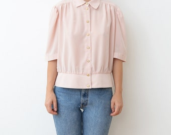 Vintage pale pink crepe women 80s blouse with golden buttons / top / shirt