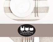 Cat Placemat, Linen, Fabric placemat, gray white stripes