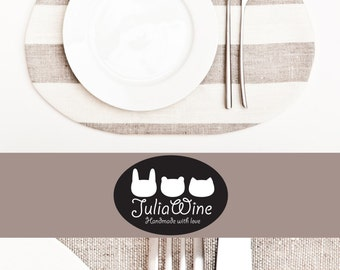 Cat Placemat, Linen Kitchen Decor Cat Lover Gift Fabric Placemat, gray white stripes Table Mats Baby Shower Grandma Gift Childrens Placemat