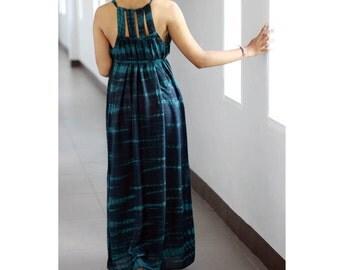 Tie Dye Maxi Dress, Womens Long Dress, Dark Blue Dress, Sun Dress, Cut Out dress