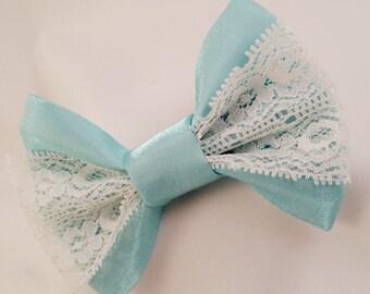 Blue Lace Hair Bow