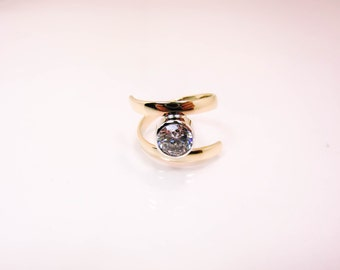 10 Karat Gold Bypass Ring - 10K Gold and CZ Bypass Ring - 8MM Tube Set Gold Bypass Ring - Clear Stone Bypass Ring