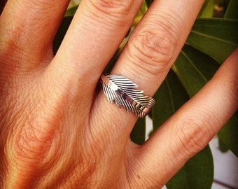 Sterling Silver Ring - Improved Feather Ring - Silver Feather on Top of 3MM X 1MM Band - Silver Feather Ring - Feather Ring
