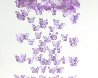 Lavender Nursery Mobile Chandelier- Butterfly Mobile, Baby Shower Gift, Nursery Decor, Wedding Chandelier