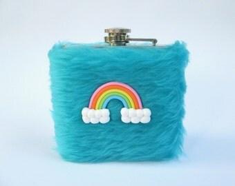 Pastel Goth Flask, 21 Birthday Hip Flask, Girly Liquor Flask Women Fluffy Flask Kawaii DDLG Rainbow Womens Flask INCLUDING FLASK, Lolita