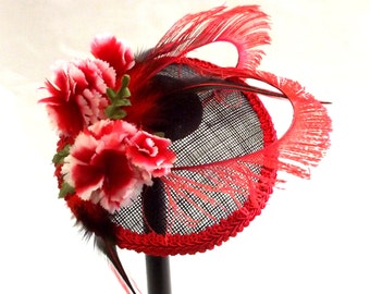 Flower Fascinator Hat - Vintage Style Mini Hat - Tea Party Hat - Hair Accessory - Party Fascinator Hat - Flower Fascinator - Derby Hat