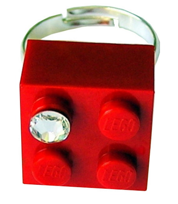 Red LEGO (R) brick 2x2 with a Diamond color SWAROVSKI crystal on a Silver/Gold plated adjustable ring finding