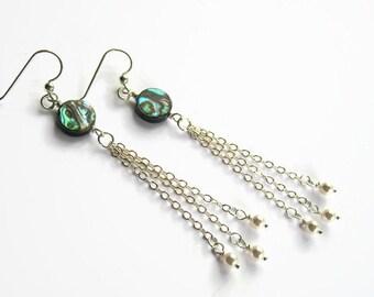 Super Long Abalone Earrings, Sterling Silver Chain Pearl Earrings, Chain Tassel Earrings, Chandelier Earrings, Beach Earrings, READY To Ship